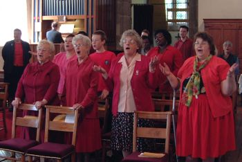 Photo: Pentecost 2004, singing together.