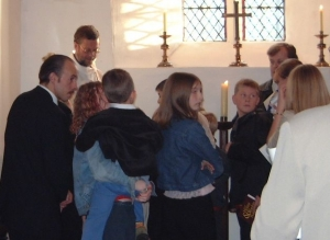 Photo: Baptism on a Sunday afternoon in 2002. Dibley...?
