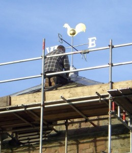 Photo: finishing touches to the tower roof
